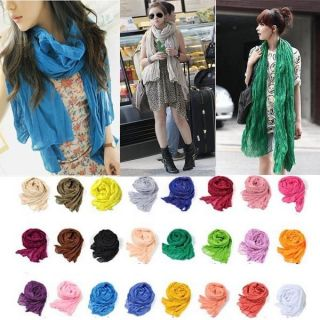 New Fashion Women Girl Long Crinkle Scarf Wrap Shawl Stole Pure Candy