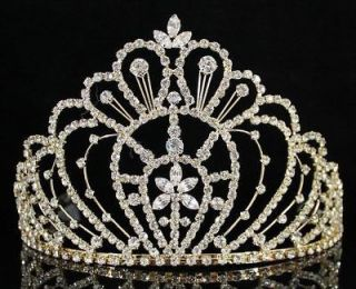 QUEEN RHINESTONE CRYSTAL CROWN TIARA W/ COMBS PAGEANT PROM BRIDAL H469