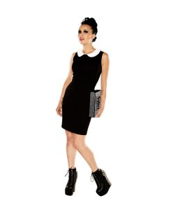 Wednesday Addams School Girl Retro Look Sheath Dress Peter Pan Collar