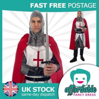ADULT MENS ST GEORGES MEDIEVAL KNIGHT CRUSADER COSTUME ENGLISH FANCY