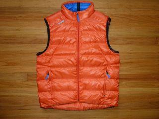 new ralph lauren rlx orange puffer down vest l