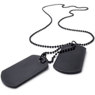 Mens Black Army Style Cool 2 Dog Tag Pendant Necklace US120743