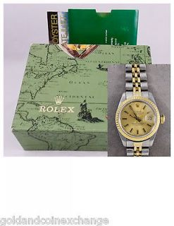 Ladies Two Tone SS Rolex Oyster Perpetual Datejust Watch 69173 w/ Box