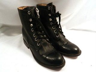 unisex riding black boots tall size 1 1 2 lace