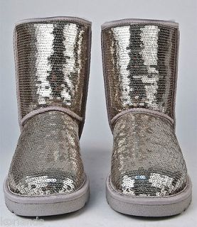 NEW UGG CLASSIC SHORT SPARKLES SEQUINS SILVER WOMENS BOOTS US 7 UK 5.5