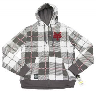 ZOO YORK Mens Gray/White Plaid Zip Sherpa Lined Hoodie Jacket NWT