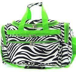 Zebra Duffle bag school Gym overnight Dance Totes Green 19 Diaper