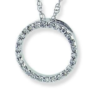 14k white gold diamond circle pendant power seller 100 %