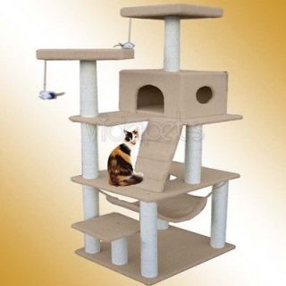 72 Light Brown Cat Tree Condo Furniture Scratch Post Pet House