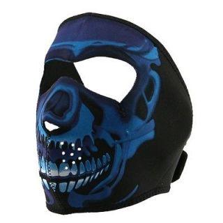 Reversible Motorcycle Biker, Ski, Neoprene Face Mask   Neon Blue Skull