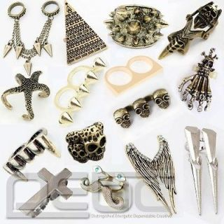 Retro Fashion Hot Cool Rock Punk Gothic Skull Wings Cross Double Rings