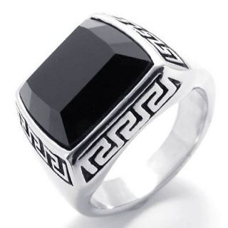 Black Silver Stainless Steel Ring US Size 7,8,9,10,11,12 US120398