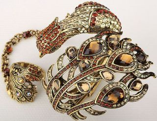 Gold brown crystal slave peacock bracelet ring set 2;buy 10 items free