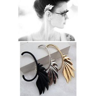 Black/ Gold/ Silver Flame Dragon Wing Ear Cuff Stud Wrap Earrings