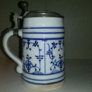 Meissen Blue Onion Zweibelmuster Beer Stein High Wheel Bike Lithophane