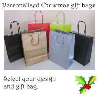 personalised christmas table gift bags with tissue paper more options