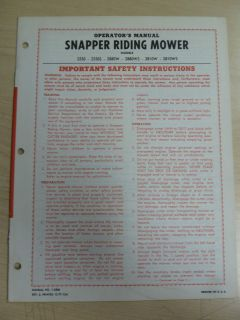 SNAPPER 2550 2550S 2880WS 2810W 2810WS RIDING MOWERS OPERATORS MANUAL