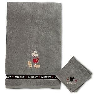 Store Mickey Mouse 2 Piece Towel & Wash Cloth Rag Set Bath Room Gray