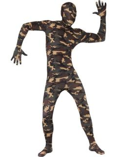 Adult Camouflage Second Skin Suit Full Body Zentai Smiffys Fancy Dress