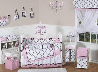 Newly listed PINK BLACK WHITE BABY CRIB BEDDING SET FOR NEWBORN GIRL
