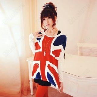 Womens Particular The Union Jack Flag T Shirts Batwing Sleeve Tops