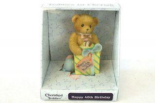Teddies to Cherish Enesco 2004 Happy 40th Birthday Figurine #4001910