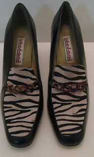 Ladies Womens Stefani Black with Zebra Print Inset High Heel Shoes 10M