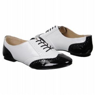Steve Madden P OXFORD Black WHITE Patent Dress Oxford Flats 7.5 NEW