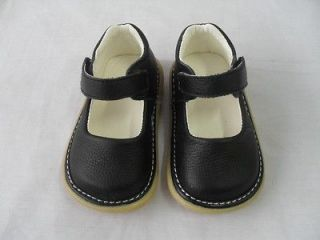 New Baby Girls Black Leather Dress Squeaky Shoes Toddler Size 5 + Xtra