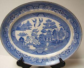 Antique English Blue Willow Platter Semi Porcelain Myott 12 Blue