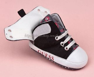 Baby Boy Black & White Soft Sole Shoes Toddler Sneaker Size Newborn to