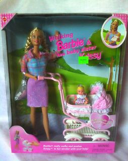 WALKING BARBIE & AND KRISSY BABY SISTER DOLL STROLLER PLAYSET NEW NRFB