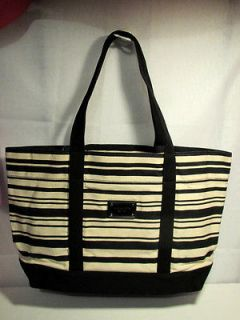 NWT MICHAEL KORS SUMMER GROUP LARGE TOTE STRIPE OFF WHITE/BLACK ~FREE