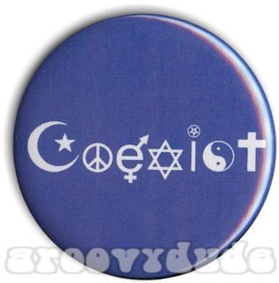 God Peace Love Human Rights Pin Button Pinback Badge All Exist