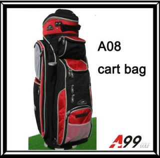listed A08 14way full length divider golf cart bag hard black red