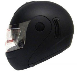 FULL FACE MOTORCYCLE HELMET MATTE BLACK DUAL SHIELD SUN VISOR ~L