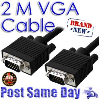 2M Male to Male 15 Pins SVGA/VGA Computer Laptop Monitor TV LCD Video