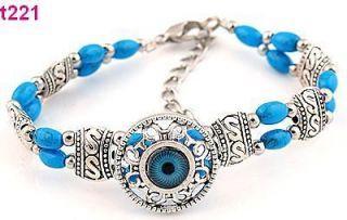 Free P&P 1pc handmade Tibetan silver blue beaded charm bracelet t221