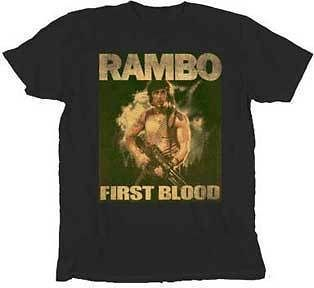 Shirt Tee RAMBO NEW First Blood (MEN/Adult) Black Anime Licensed