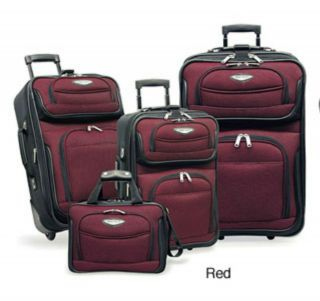 traveler s choice amsterdam 4 piece luggage set red time