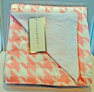 Pink Crib Blanket 34x40 Back is white terry cloth like fabric NEW