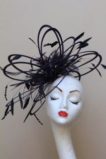 new large black feather fascinator hat wedding more options main