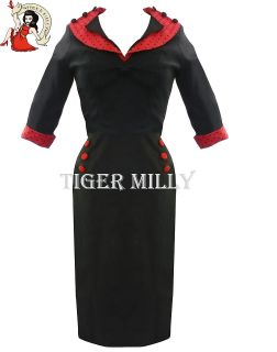HELL BUNNY 50s vintage THELMA PENCIL WIGGLE DRESS BLACK RED