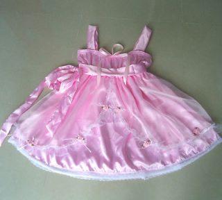 pretty babydoll pink satin sheer sissy dress m size