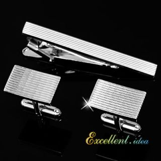 STRIPES STAINLESS STEEL SILVER TONED MENS CUFFLINKS TIE CLASP BAR CLIP