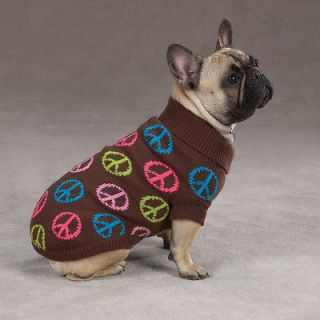Brown Peace sign TC 6L Dog Sweater tiny Puppy apparel clothing
