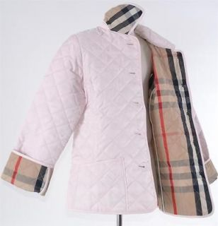 NWT BURBERRY CHILDRENS GIRLS PINK QUILTED NOVA CHECK COAT JACKET~5 Y