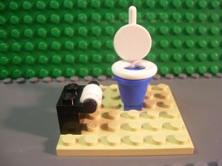 Lego Minifigure custom toilet w/ paper (tan plate not included) NEW