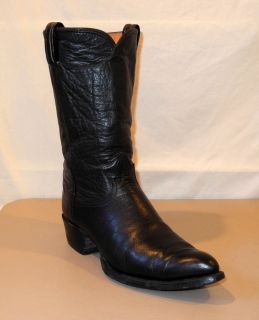 Tony Lama Black Label Black Goatskin Cowboy Boots   Mens Western
