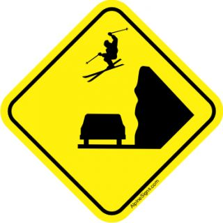 snow ski skier skiing crossing decal sticker 3 x3 time